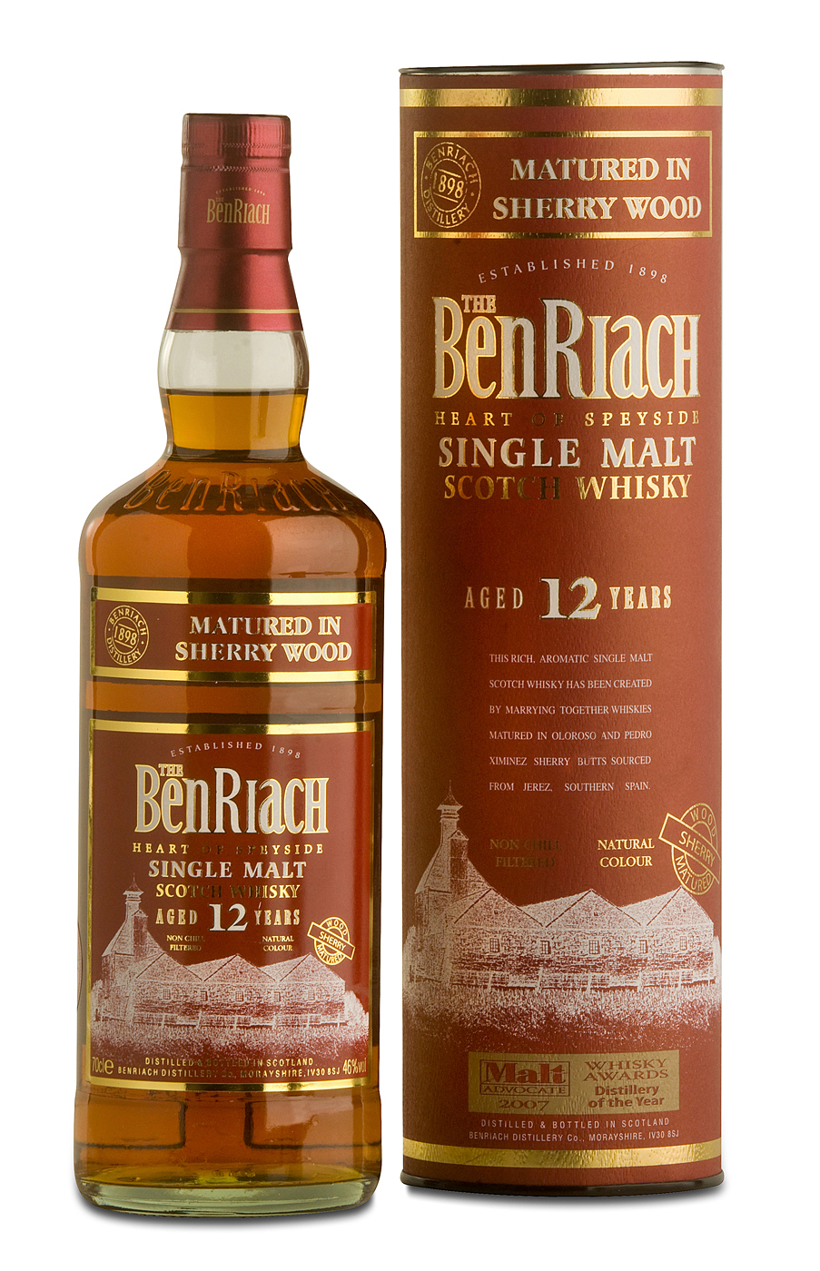 BenRiach 12y Sherry Wood wint award in Speyside